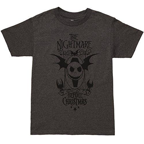 Nightmare Before Christmas Bat Wings Jack Adult T-shirt - Charcoal (X-Large) (Adult Bat Wings)