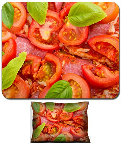 Liili Mouse Wrist Rest and Small Mousepad Set, 2pc Wrist Support IMAGE ID 32265338 Close up of pIzza with tomato and salami