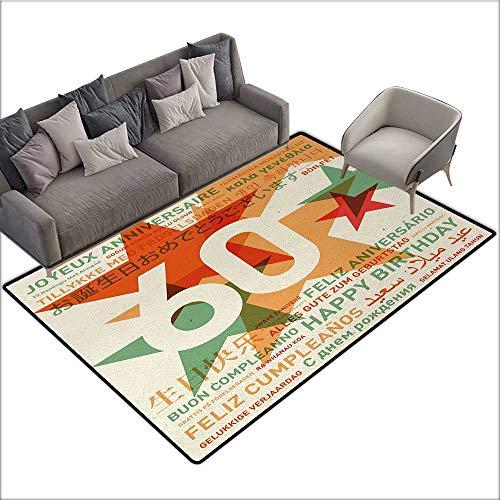 60th Birthday Custom Pattern Floor mat World Cities Birthday Party Theme with Abstract Stars Print 70