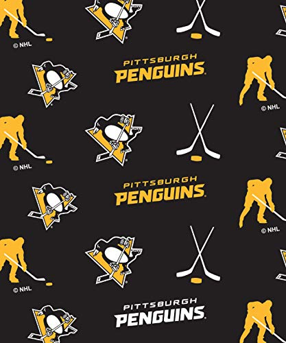 Pittsburgh Penguins Fleece Blanket Fabric All Over Design-Sold by The Yard