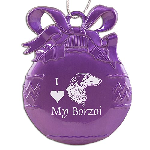 Pewter Christmas Tree Ornament-I love my Borzoi-Purple