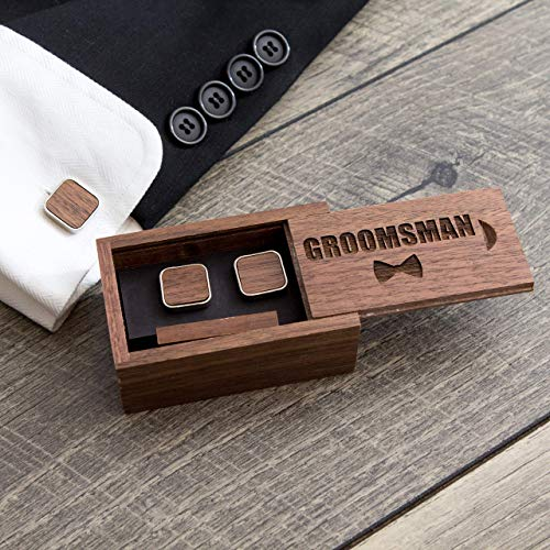 Groomsmen Gift Box with Square Cufflinks & Tie Clip - Wedding Party Favor