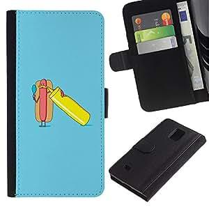 All Phone Most Case / Oferta Especial Cáscara Funda de cuero Monedero Cubierta de proteccion Caso / Wallet Case for Samsung Galaxy Note 4 IV // cartel perro divertido minimalista azul caliente