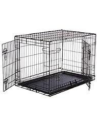 AmazonBasics Double-Door Folding Metal Dog Crate - Medium (36...