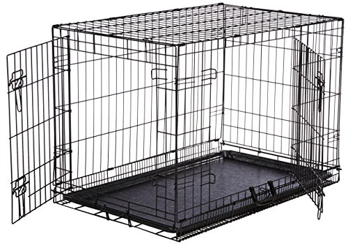 AmazonBasics Double-Door Folding Metal Dog Crate – Medium (36x23x25 Inches)