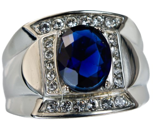 man/'s stainless steel oval shape blue sapphire stone ring size 8 14