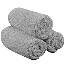 Sinland Nano Hand Towel Bamboo Charcoal Bath Towels 16Inch x 31Inch 3 Pack Light Grey