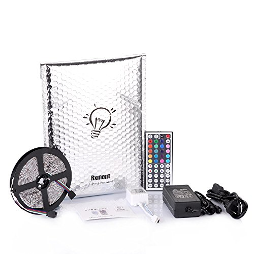 Rxment Led Strip Lighting 5M 16.4 Ft 5050 RGB 300leds Flexible Color Changing Full Kit with 44 Keys IR Remote Controller Control Box 12v 5A Power Supply for Home Lighting & Kitchen and Christmas Decorative