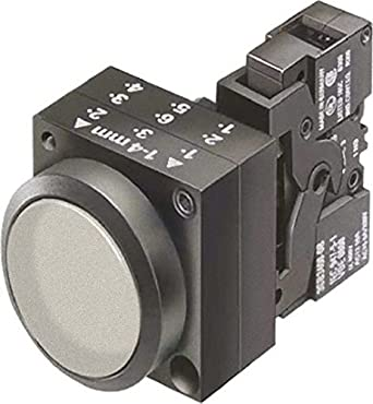Siemens 3SB3247-0AA71 Pushbutton Unit, Flat Button, Momentary Operation, Illuminated, 24VAC/VDC Integrated LED, 1 NO + 1 NC Contact Type, Clear