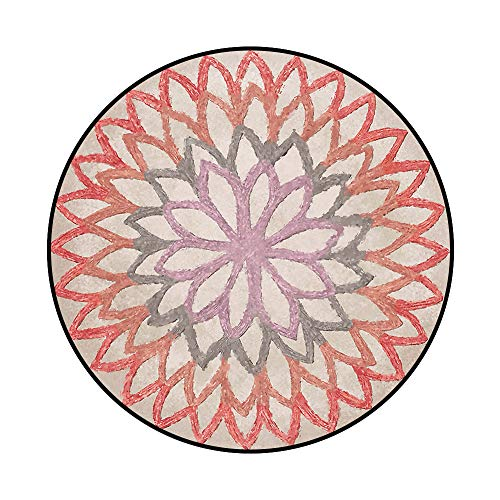 Soft Bathroom Round Area Rug, Easy to Clean Stain Fade Resistant Shed Free Modern Contemporary Mandala Floral Rug for Living Dining Room 5.2'