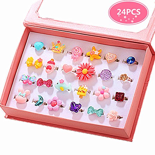 PinkSheep Little Girl Jewel Rings in Box, Adjustable, No Duplication, Girl Pretend Play and Dress Up Rings (24 Lovely Ring) -