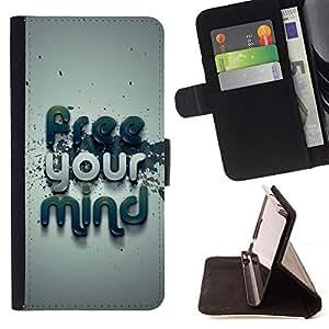BullDog Case - FOR/HTC One M8 / - / Free Your Mind Typography /- Monedero de cuero de la PU Llevar cubierta de la caja con el ID Credit Card Slots Flip funda de cuer