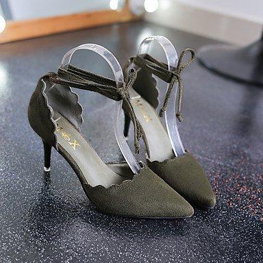 Le donne sexy elegante sandali donna tacchi Primavera Estate altre cinturino alla caviglia in pelle esterna di nozze Party & abito da sera Stiletto Heel Lace-up verde nero kaki , kaki , us8 / EU39 / U