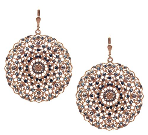 Swarovski Gold Tone Necklace - Catherine Popesco Blue & Dark Grey Mix Swarovski Crystal Filigree Medallion Goldtone Earrings