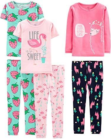 Simple Joys by way of Carter's Girls' 6-Piece Snug Fit Cotton Pajama Set