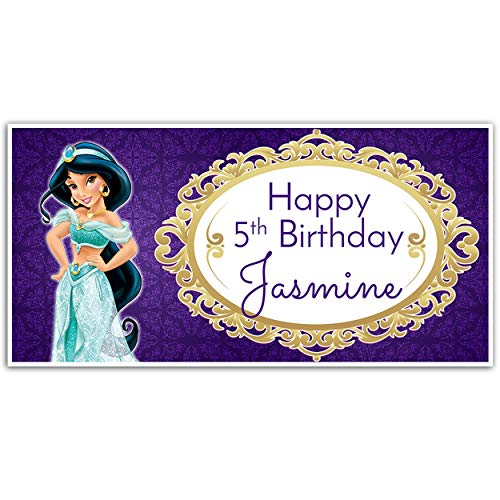 (Princess Jasmine Birthday Banner Personalized Party Backdrop)