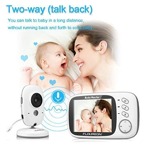 FLOUREON 3.2 Inch Digital Wireless Baby Monitor Infant IR LCD Video Nanny Security Camera Temperature Display 2 Way Talk Night Vision Lullabies(3.2\