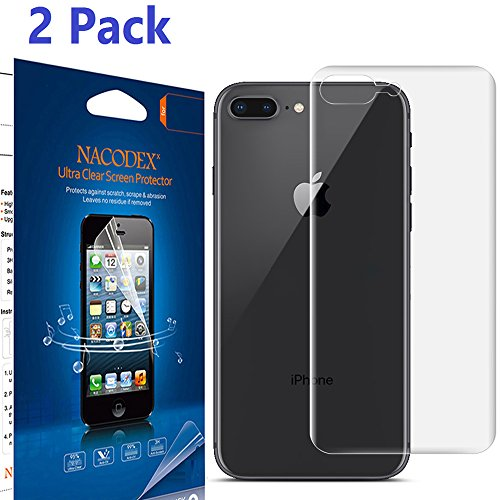 [2 Pack] For iPhone 8 Plus [Only for Back] Screen Protector, [No Glass], Nacodex [100% Full Cover] [No Foam] [Anti Scratch] High Definition Screen Protector For Apple iPhone 8 Plus