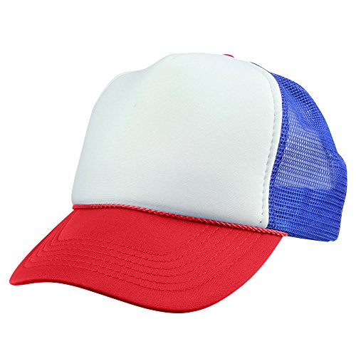 DALIX Youth Mesh Trucker Cap - Adjustable Hat (Comes in 8 Colors) (Red/White/Blue) -
