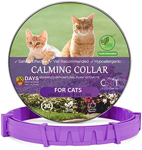 Howan [2020 Newest] Calming Collar for Cats, Adjustable Reduce Anxiety Calm Collars- Last up to 30 Days Protection, 100% No Allergy 100% Natural Oils, Fits All Cats Small Medium& Large