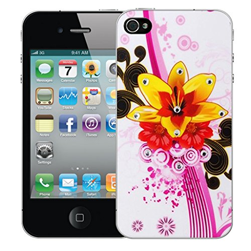 Mobile Case Mate iPhone 5s Silicone Coque couverture case cover Pare-chocs + STYLET - Yellow Bouquet pattern (SILICON)