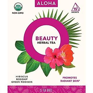 ALOHA Organic Herbal Tea, Beauty, Hibiscus Rosehib Green Rooibos,15 Count (Pack of 6)