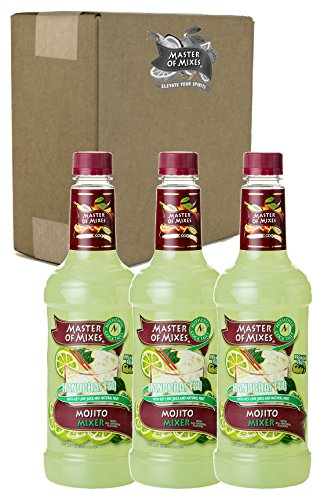 Master of Mixes Mojito Drink Mix, Ready To Use, 1 Liter Bottle (33.8 Fl Oz), Pack of 3