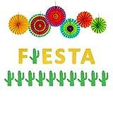 Yaaaaasss! Fiesta Banner Cacti Garlands Colorful Paper Fans Cino De Mayo Party Supplies