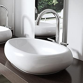 BTH: 56x38x13,5 cm Design Aufsatzwaschbecken Brüssel894, aus Keramik ...