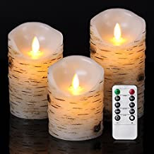"GBATERI Flickering Birch Candle Set(4"" 5"" 6"") Birch Bark LED Flameless Candle Real Wax Pillar Lights Battery Operated Realistic Candles Include Remote and Timer for Parties Gifts and Decoration"