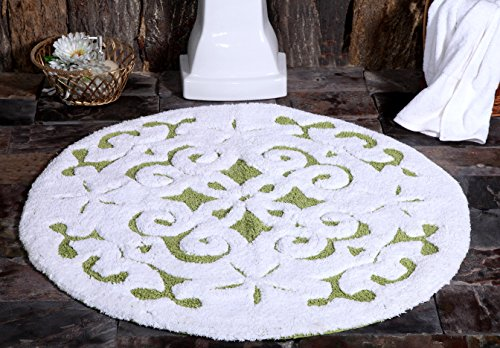 Saffron Fabs Bath Rug Soft Cotton, 36 Inch Round, Damask Pattern, Latex Spray Non-Skid Backing, Green/White, Hand Tufted, 200 GSF, Machine Washable (Crochet Rug Round)