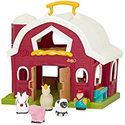 "Battat BT2526Z Big Barn Animal Farm Playset for Toddlers (6 Pieces), 13.5"" L x 9"" W x 12"" H, Dark Red"