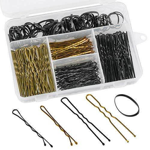 FOCCTS 300 piezas de horquillas y bandas para el pelo, incluye 200 horquillas en forma de U y 100 bandas para el pelo con caja de almacenamiento para ninas y mujeres, color dorado y negro