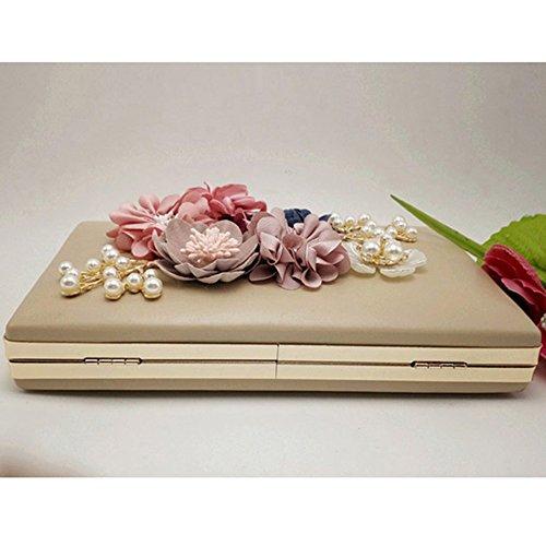 Khaki Handbags Party Evening Womens Floral For Purse BBPPDD Bag nByF58qW5w