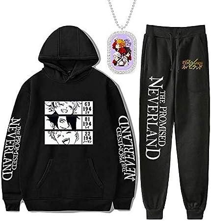 The Promised Neverland Sudaderas Anime Unisex Ropa Cosplay Merch Sudadera Pantalones 3 Piezas Conjunto Suelto Pullover
