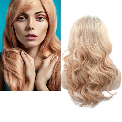 (Synthetic Lace Front Wigs Blonde 24 inch Body Wave Ombre Lace Front Wig 180% Density Side Part Free Part Colored Wigs #Champagne)