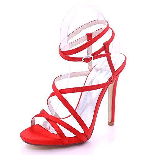 Open Tailles YC 02 Hauts Womens Toe 3 Sandales 7216 à Dress Party Mariage de Shoes Talons Red Forme 8 Court L Plate EqUFdwxAF