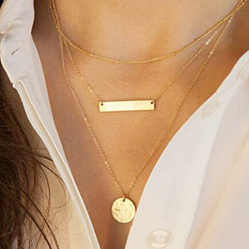 Double Necklace Layered (Yean Gold Layered and Long Choker Necklace, Alloy Bar Necklace, Layering Chokers for Women and Girls)