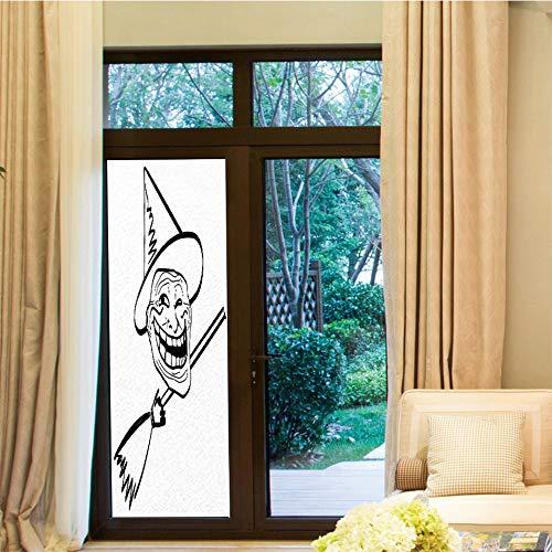 YOLIYANA Frosted Window Film,Humor Decor,for Shop Restaurant Home,Halloween Spirit Themed Witch Guy Meme LOL Joy,24''x70'' -