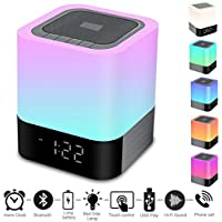 Portable Wireless Bluetooth 4.0 Speaker-Big Sound Heavy Base-RBG Changing Color-Dimmable Warm Light Lamp Alarm Clock-Hand Free-48Led Light Cycle-MP3