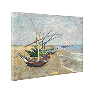 Niwo Art (TM) - Fishing Boats on the Ground, by Vincent van Gogh - Oil painting Reproductions - Giclee Canvas Prints Wall Art for Home Decor, Stretched and Framed Liable to Hang (20 x 24 x 1.5 Inch)