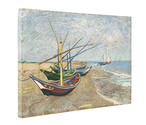 Niwo Art (TM) - Fishing Boats on the Beach, by Vincent van Gogh - Oil painting Reproductions - Giclee Canvas Prints Wall Art for Home Decor, Stretched and Framed Ready to Hang (16 x 20 x 1.5 Inch)