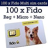 100 x Fido Multi sim card format ( Regular + Micro + Nano ) 3G 4G LTE Canada