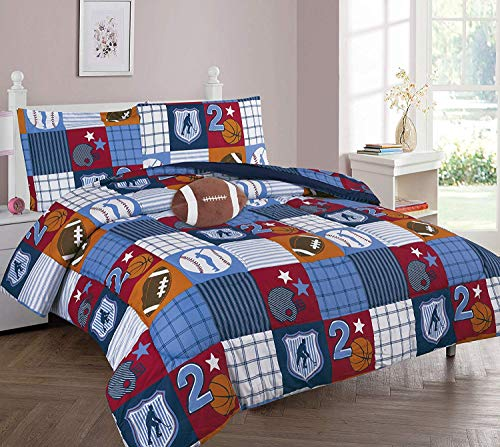 DiamondHome Boys Bedroom Decor Patchwork Sports Design (Twin Comforter 6pc Set)