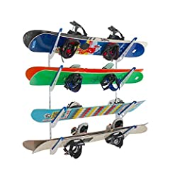 Made by StoreYourBoard, the leaders in outdoor sports gear storage, this Snowboard Rack is an adjustable wall storage solution for all your snowboards at home! Adjustable Rack SystemThe Rack consists of 2 wall tracks and 4 sets of rack bracke...
