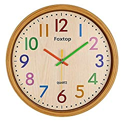 Foxtop 12.5 Inch Silent Non-ticking Colorful Wall Clock Large Decorative Vintage Timer Round Country-Style Plastic Imitation-Wood Clocks