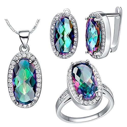Uloveido Mystic Rainbow Topaz Pendant Necklace Stud Earrings Statement Ring Jewelry Set T482-Silver-Multi-9 (Jewellery Topaz Mystic)