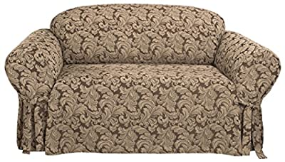 Sure Fit Scroll 1-Piece - Sofa Slipcover - Burgundy