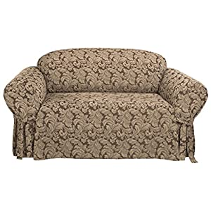 SURE FIT Scroll 1-Piece – Sofa Slipcover – Burgundy