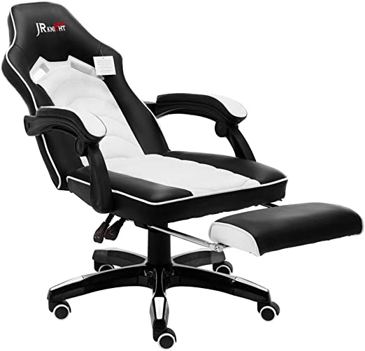 Amazon Com Jr Knight Lc 02 Teen S Gaming Chair Renovation Smart Design For Young Generation Home Office Computer Racing Exclusive Swivel Leather Chair With Recliner And Footrest White Kitchen Dining